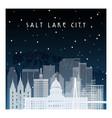 winter night in salt lake city night city vector image vector image