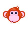 cute happy monkey kid face portrait vector image