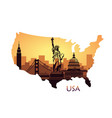 abstract city skyline with sights usa at vector image vector image