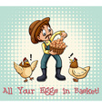 All eggs in basket vector image vector image