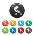 baby stroller icons set color vector image vector image