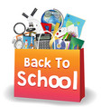 back to school education object on shopping bag vector image vector image
