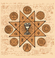 banner with grail and esoteric and masonic symbols vector image