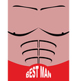Best man greeting card Man sports figure Pectoral vector image