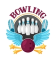 bowling emblem with game objects image vector image