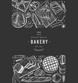 bread and pastry banner bakery hand drawn on vector image vector image