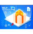 bright help book and gift box with bow on bl vector image