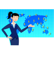 Business woman with world map vector image vector image