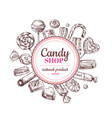 candy shop background sketch chocolate candy vector image vector image