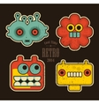 Cartoon robots and monsters faces in color vector image