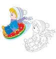 Child with an inflatable snow tube vector image vector image