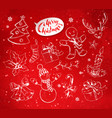 christmas objects on festive red background vector image