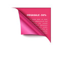 corner white torn paper with pink background vector image