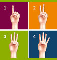 counting hands 2x2 design concept vector image vector image