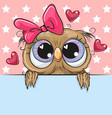 cute cartoon owl girl is holding a placard on a vector image vector image