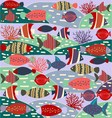 decorative with colorful cute fishes vector image vector image