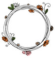 Design of wreath with flowers and butterfly