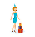 girl in a beautiful dress and hat celebrating vector image vector image