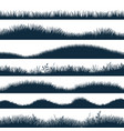 grass silhouette horizontal hills with plants vector image