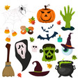 halloween symbols pumpkin ghost holiday collection vector image vector image