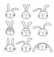 hand drawn bunny cute characters set vector image vector image