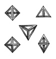 hand drawn dotted style polyhedron set vector image