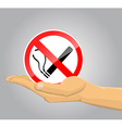 Hand holding no smoking sign vector image