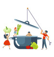 happy family cooking together vector image vector image