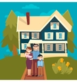 Happy Family with Newborn Baby and New House vector image