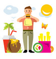 happy hipster man with hamburger flat vector image vector image