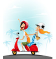 happy young couple having fun on a scooter vector image vector image