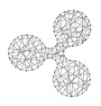 Icon ripple cryptocurrency from polygonal mosaic vector image