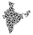 india map collage of football balls vector image vector image