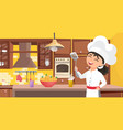 kids chef cook food happy cute child in cooker vector image
