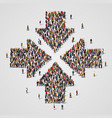 large group of people in the convergent arrows vector image vector image