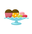 macarons with cupcake in a glass cake stand vector image vector image