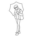 man standing holding umbrella in his hand black vector image