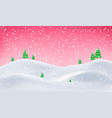 merry christmas landscape snow background vector image