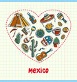 mexico pen drawn doodles collection vector image vector image
