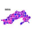 mosaic arunachal pradesh state map of square items vector image vector image