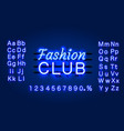 neon fashion club text banner night sign board vector image vector image