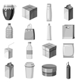 package container icons set gray monochrome style vector image vector image