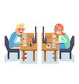 pc monitor programmer gamer table chair guy girl vector image vector image