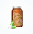 Pills Capsules in Medical Glass Bottle vector image vector image