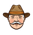 portrait a smiling farmer in a hat vector image vector image