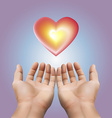 Red heart floating on two hand with purple vector image vector image