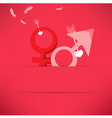 Red Valentines Day background with Male and female vector image