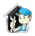 repairman with a wrench and house symbol vector image vector image