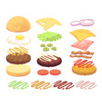 sandwich and burger food ingredients cartoon vector image vector image