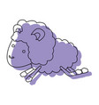 sheep animal jumping purple watercolor silhouette vector image vector image